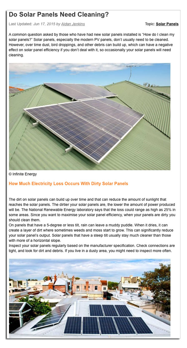 Do Solar Panels Need Cleaning Infinite Energy